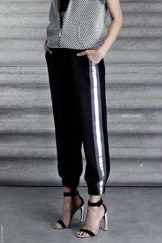 Jay Ahr cruise/resort 2014: Inspired by 1980s track suit because of the loose fit and the side stripe