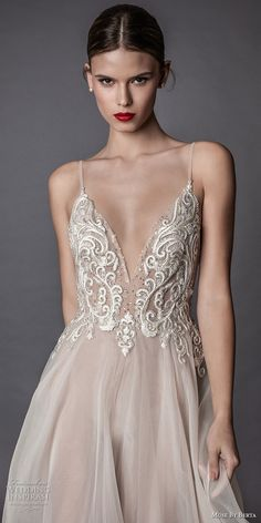 muse berta fall 2017 bridal spagetti strap deep sweetheart neckline heavily embroidered bodice tulle skirt romantic sexy blush flowy a  line wedding dress open low back sweep train (amata) zv