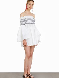 Buy Now (Fashion Boat Neck Off Shoulder Flare Sleeve Dress) from Sheetag - http://www.sheetag.com/product/fashion-boat-neck-off-shoulder-flare-sleeve-dress/