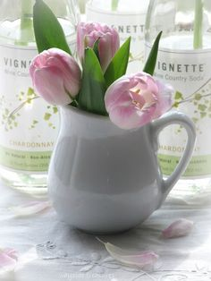 pink tulips in a pot