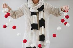 Christmas garland felted balls