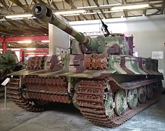 This German Tiger Tank I Ausf. E Heavy Tank panzerkampfwagen VI can be found at the Deutsches Panzermuseum in Munster, Germany.