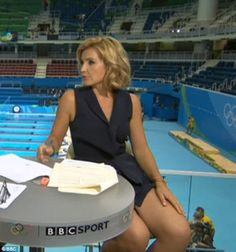 Leggy lady! Helen Skelton was getting fans hot under the collar again on Saturday as she presented the BBC's coverage of the swimming at Rio's 2016 Olympics