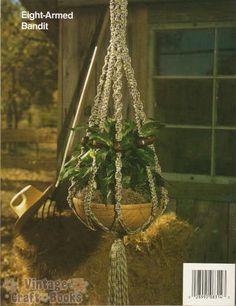 crocheted plant hangers large | Crochet: hanging plant holder, red heart super saver yarn, plant rack