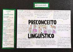 @Regran_ed from @oficinadaredacao_ - E hoje trago para vocês o tema mais aguardado que é o preconceito linguístico. Em meio às… Study Cards, Bullet Journal Notes, Studyblr, Study Notes, Study Tips, Knowledge, Education, Learning, School