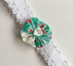 White flower baby girl headband toddler headband by Minimelton