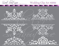 WHITE Digital Borders Frames Ornate Retro Vintage Wedding Bridal Shower Decorations Supplies Clip Art Clipart Scrapbooking Craft Supply 0094