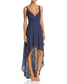Laundry by Shelli Segal Tiered High/Low Lace Gown | Bloomingdale's