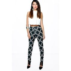 Boohoo Night Lua Monochrome Geo Skinny Trousers ($26) ❤ liked on Polyvore featuring pants, multi, skinny trousers, tapered pants, white wide leg trousers, skinny pants and white pants