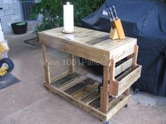 Outdoor Pallet Utility cart | 1001 Pallets -- this would be a sturdy utility cart, no matter where used, with wheels only on one end, so I would probably add SHORT handles on the other end to make easier to move.