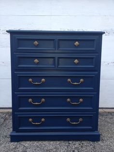 Navy blue painted highboy dresser by Twice Loved Furniture Creations