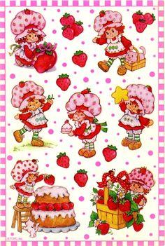 Kenner/American Greetings Strawberry Shortcake Sticker Sheet - Late 90's reissue