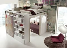 space saving with elevated bed space. #interior #design #idea #space #small