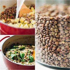 Krémová čočka se špenátem Foto: All Dog Food Recipes, Beans, Fresh, Vegetables, Recipes, Bulgur, Beans Recipes, Veggie Food, Vegetable Recipes