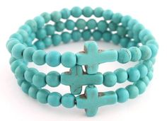 Ladies Turquoise Bundle Stretch Bracelet with Crosses #jewelry #bracelets