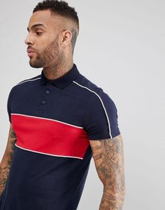 ASOS Polo Shirt With Contrast Panel And Piping In Navy