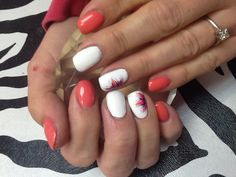 Get polished - coral and white gel polish nail manicure with flower design
