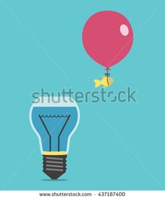 Goldfish flying away from light bulb shaped fishbowl or aquarium on balloon. Creativity, creative idea, success and risk concept. EPS 8 vector illustration, no transparency Fishbowl, Flies Away, Goldfish, Light Bulb, Aquarium, Balloons, Creativity, Royalty Free Stock Photos, Success