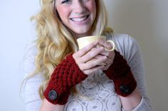 Hand Warmers Fingerless Gloves with Button  Made by theComfyTimes, $20.00