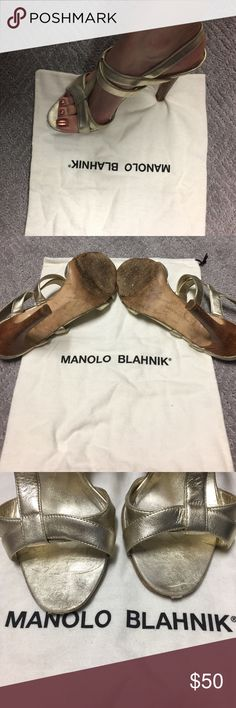 Manolo Blahnik gold heels, 38, 8 These are 100% authentic Manolo Blahnik pumps. They are great sandals/pumps that have been well loved and worn!  Please reference the pictures for wear on the toes and  in the heels. They have lots of love left for a new closet!  Thanks! Manolo Blahnik Shoes Heels