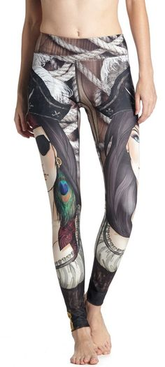 Pirate girl inspired printed leggings with original artwork. Made in USA with Triathlon fabric. Yoga, Running, Surfing, SUP, Crossfit Women's Sports Leggings, Cheap Leggings, Workout Leggings, Workout Pants, Women's Leggings, Shops, Compression Pants, Girl Humor, Fitness Fashion