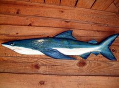 Blue Shark 50 chainsaw wood nautical carving by oceanarts10, $150.00