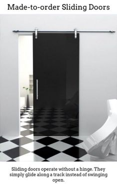 Exterior, : Modern Home Interior Decoration Of Single Black Sliding Door Combine With White Wall Paint And Checkerboard Floor Complete With Stylist Home Furniture Design Internal Sliding Doors, Modern Sliding Doors, Sliding Glass Door, Sliding Cupboard, Cupboard Doors, Interior Barn Doors, Exterior Doors, Frosted Glass Door, Sliding Room Dividers