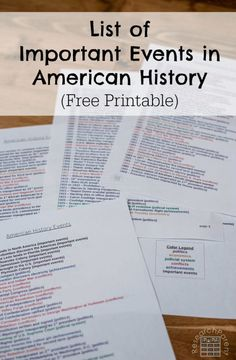 List of over 200 of the most important events in United States history. Color coded by type of event (political, economi American History Lessons, World History Lessons, History For Kids, Study History, History Education, Teaching History, High School American History, Teaching American History, Us History