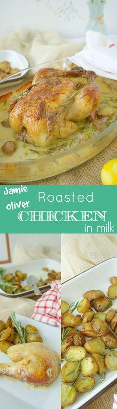 """So delicious and so aromatic you cannot say """"no"""". Jamie Oliver adapted, roasted chicken in milk. Easy and gorgeous! English recipe included. Pollo asado en leche adaptada de la receta de Jamie Oliver. Muy aromática y deliciosa!!"""