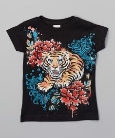 Another great find on #zulily! Black Japanese Tiger Fitted Tee - Toddler & Girls #zulilyfinds