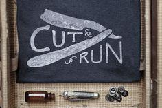 CUT AND RUN navy marle screen printed tshirt by leoandspargo, $49.95, www.leoandspargo.etsy.com
