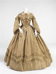 thedapperbonnet:    Afternoon dress, c. 1862
