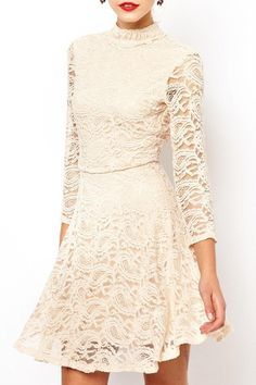 Solid Color Stand Neck 3/4 Sleeve Lace Dress