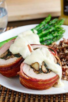 Bacon Wrapped, Mushroom and Spinach Stuffed Pork Tenderloin in a Creamy Dijon Goat Cheese Sauce