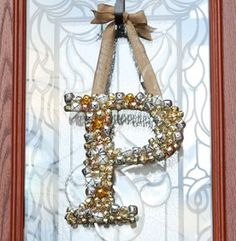 monogram wreath, jingle bells, jingl bell, holiday idea, wreath craft