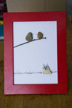 Wishful Thinking Pebble Art - I especially like the amazing pebble dog or wolf