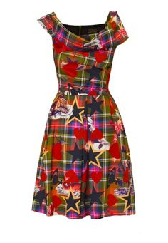 This AW13/14, bridge the seasons with Vivienne Westwood's Anglomania Sea Monster Halton Dress in vivid cotton.