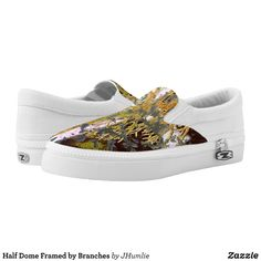 Half Dome Framed by Branches Slip-On Sneakers - Printed Unisex Canvas Slip-On #Shoes Creative Casual #Footwear #Fashion #Designs From Talented Artists - #sneakers #feet #fashion #design #fashiondesign #designer #fashiondesigner #style - Look sporty stylish and elegant in a pair of unique custom sneakers - Each pair of custom Low Top ZIPZ Shoes is designed so you can fit your style to any wardrobe mood party or occasion - Fashionable sneakers for kids and adults give you a unique and…