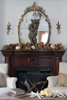 FRENCH COUNTRY COTTAGE: Natural Autumn Mantel. This is so gorgeous! Then again, everything that Courtney does is! If you haven't been to her blog, you're really missing something fabulous!