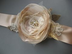Beige rustic  Bridal sash wedding belt Vintage flower gold shabby chic burlap lace ivory rhinestone ribbon nude cream accessory. $65.00, via Etsy.