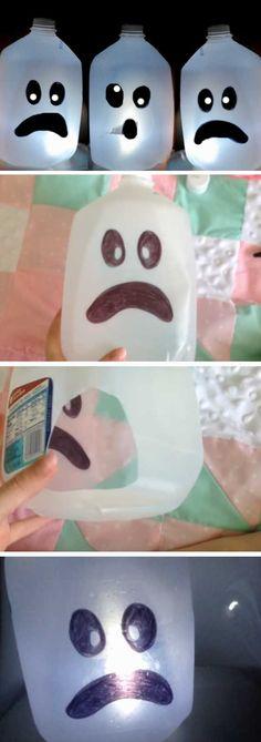 Ghost Milk Jug | 20+ DIY Halloween Crafts for Kids to Make