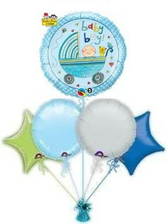 Baby Boy Pram Balloon Bouquet (also available in baby girl)