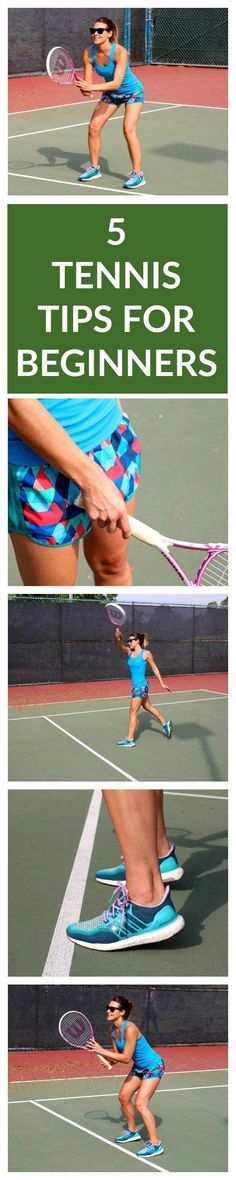 5 Tennis Tips for Beginners. Tennis is a great way to get fit while having fun. Tennis burns about 400-600 calories per hour! Find more tennis ideas, quotes, tips, and lessons at #lorisgolfshoppe #tennisworkoutideas