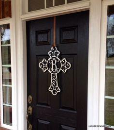 Front Door Wreaths, cross, Monogram Door Hanger, initial Door Wreath, Front Door Decor, Outdoor Wreaths, Home Decor, Monogram gifts by housesensations on Etsy https://www.etsy.com/listing/223051982/front-door-wreaths-cross-monogram-door