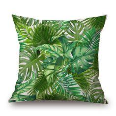 Tropical Palm Feuille De Bananier Jungle Oiseau de Toile de Coton Coussin…