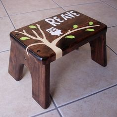 Personalized Step Stool - Owl Dark Walnut Stained Wood - Tip-resistant Step…