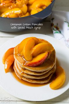 Pancakes with Fresh Peach Syrup