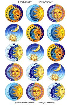 Digital Bottle Cap Images - Sun and Moon Collage Sheet Bottle Cap Jewelry, Bottle Cap Art, Bottle Cap Images, Bottle Cap Projects, Bottle Cap Crafts, Diy Bottle, Carta Collage, Collage Sheet, Resin Crafts