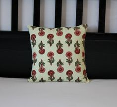 pink red white Floral pattern pillow cover 16X 16 - KalatmakHomeDecor