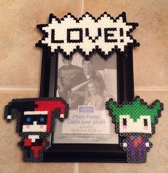 Joker and Harley Quinn Perler Frame by VitaRayArts on Etsy https://www.etsy.com/listing/227251213/joker-and-harley-quinn-perler-frame